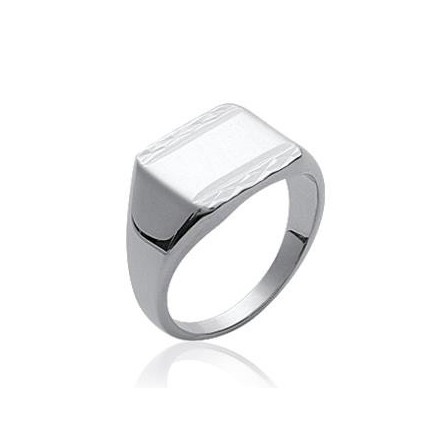 bague argent rectangle