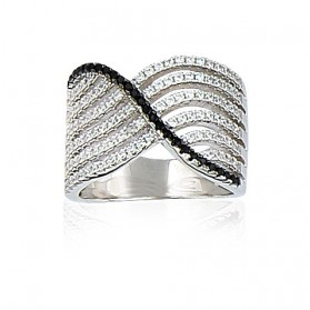Grosse bague joaillerie argent pavage blanc